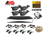 Kit complet supraveghere AHD cu 4 camere exterior 1.3MPx (HDD inclus)