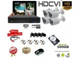 Kit supraveghere complet HDCVI cu 4 camere exterior 1.3MPx + microfon CCTV(HDD+cablu inclus)