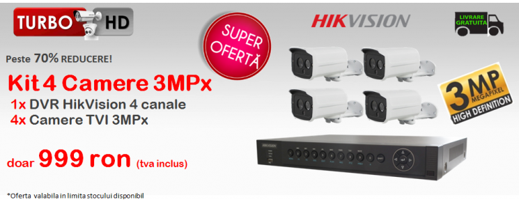 KIT  4 CAMERE TurboHD 3MPx