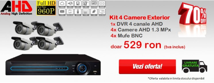 KIT  4 CAMERE AHD 1.3MPx
